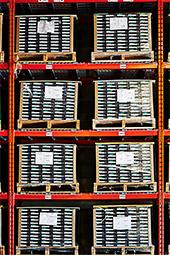 Close-up shot of warehouse wall